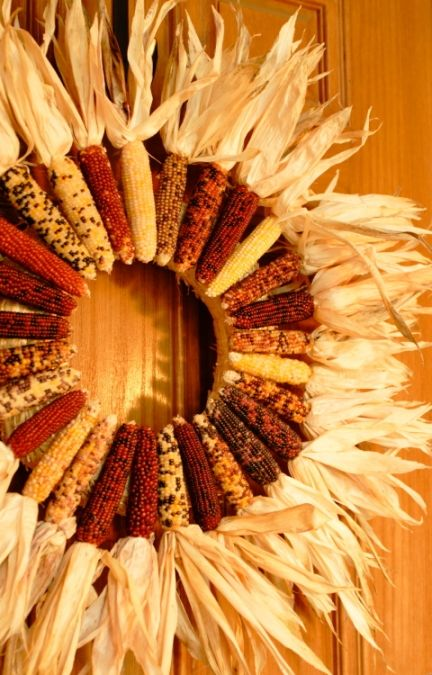 Indian corn wreath---  Could I make a great big huge one w/ yellow field corn - strong enough to hang on front porch rail in our Nebraska wind??!!