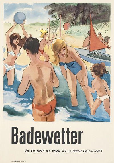 Badewetter - Und das gehört zum frohen Spiel im Wasser und am Strand   Entwurf Kurt Klamann für Dewag Handelswerbung Berlin (11/64 K 645), DDR 1964.