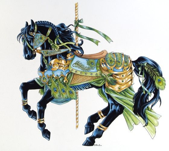 carousel horse  .. black prancer: