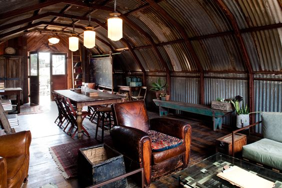 Stylish-homes: Eclectic Interior Design Studio Fashioned From A WWII Quonset Hut. Via Reddit