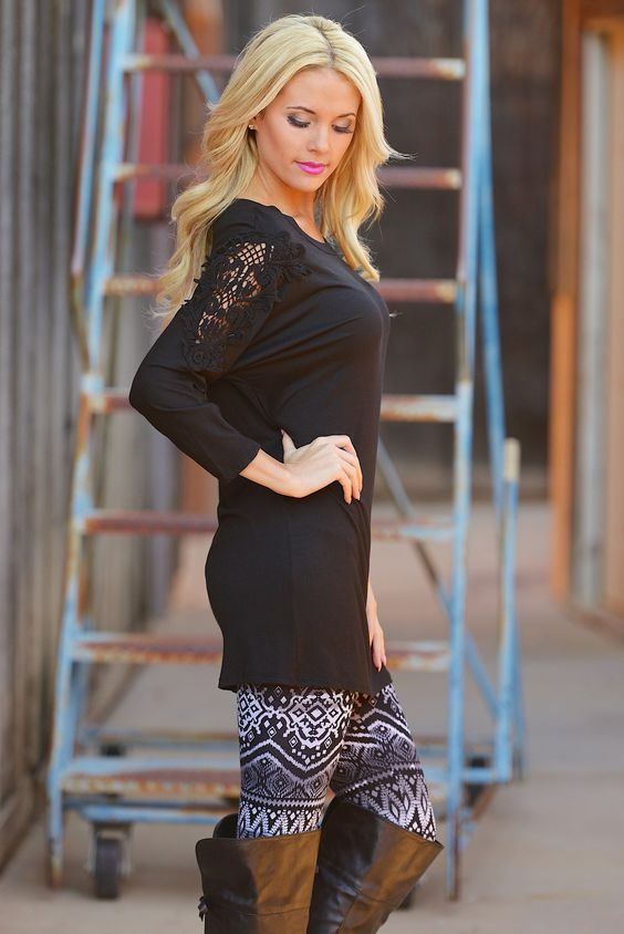 10% OFF with code REPLAUREN at checkout + free, fast US shipping || Crochet My Way Tunic - Black from Closet Candy Boutique