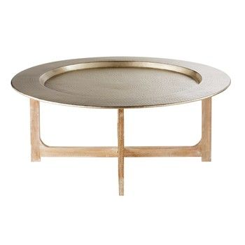 Solid Mango Wood And Hammered Aluminium Coffee Table Riad Table Basse Table Basse Marocaine Table Basse Orientale