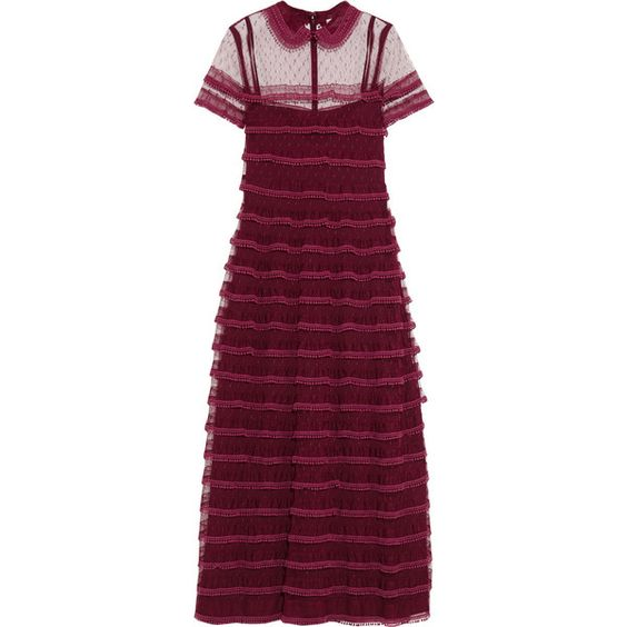 REDValentino Lace-trimmed point d'esprit tulle dress ($1,110) ❤ liked on Polyvore featuring dresses, burgundy, tulle dress, going out dresses, burgundy dress, night out dresses and slip dresses