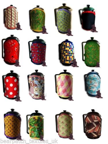8-cup-1-litre-Bearpatch-MultiColoured-Cafetiere-Coffee-Cosy-100-Cotton-Ltd-edn