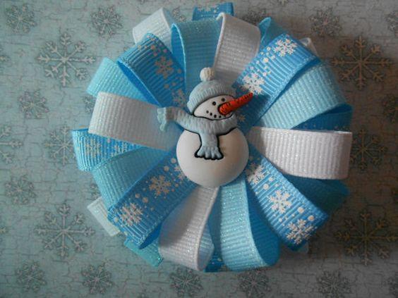 Blue snowman snowflake winter Christmas by AllThingsGirlyBows, $5.50