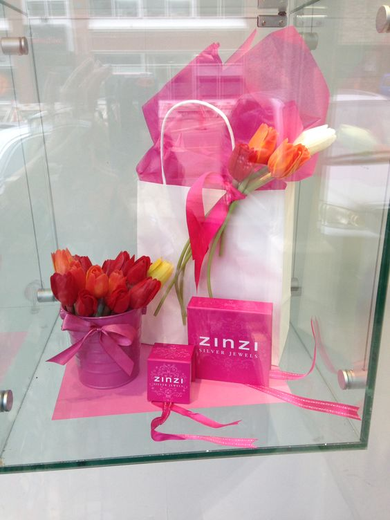Spring Window Display for Nortons Jewellers by Moving Designz