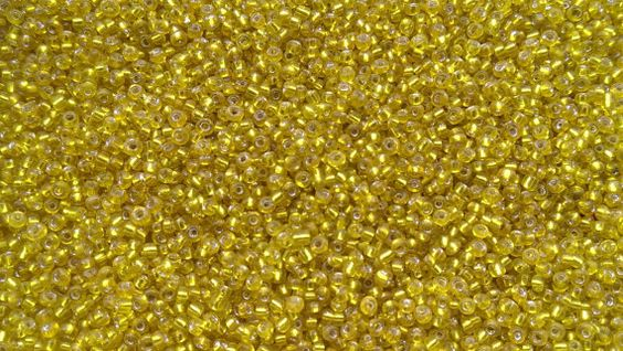 50g Yellow Silver Lined Glass Seed Beads Size 11/0 by taramar (Supplies, Bead, Glass, seed, beads, glass, small, loom, transparent, silver lined, embellishment, weave, tiny, yellow, bulk, wholesale)
