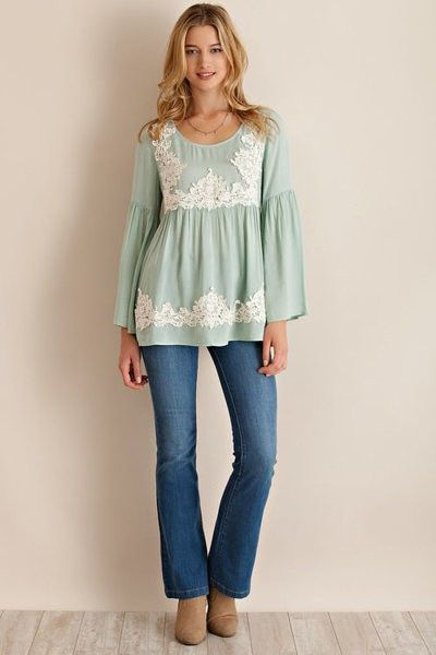 Lace Trim Bell Sleeve Baby Doll Top - Sage