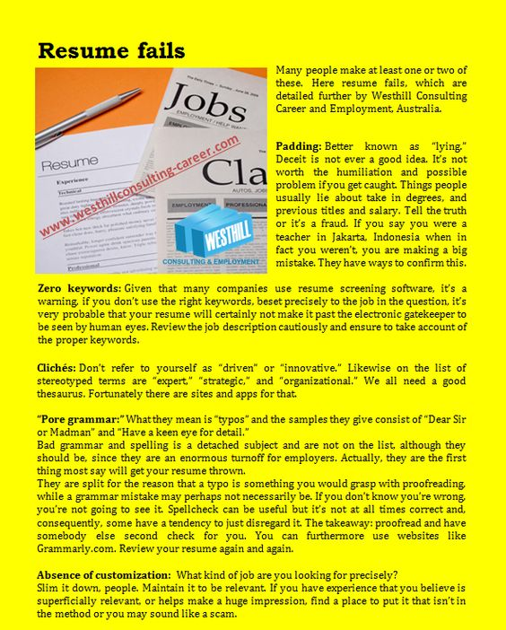 Resume fails    wwwwesthillconsulting-career blog - key words for resume