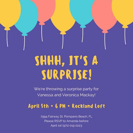 Surprise Party Invitation Template New Surprise Party Invitation Templates Canva In 2020 Party Invite Template Surprise Party Invitations Party Invitations
