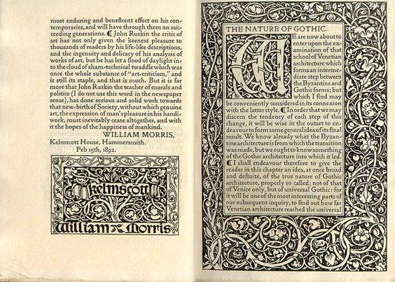 Quizás la más famosa de las imprentas privadas, la Kelmscott Press fue fundada por William Morris en enero de 1891 y su pieza maestra The Works of Geoffrey Chaucer (1896), un folio ilustrado por Sir Edward Burne-Jones con diseños decorativos y tipos creados por William Morris.