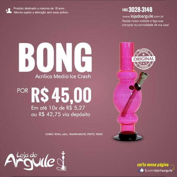 Bong de Acrilico Medio Ice Crash  DE R$ 50,00 / POR R$ 45,00 Em até 10x de R$ 5,27 ou R$ 42,75 via depósito  Compre Online: http://www.lojadoarguile.com.br/bong-de-acrilico-medio-ice-crash