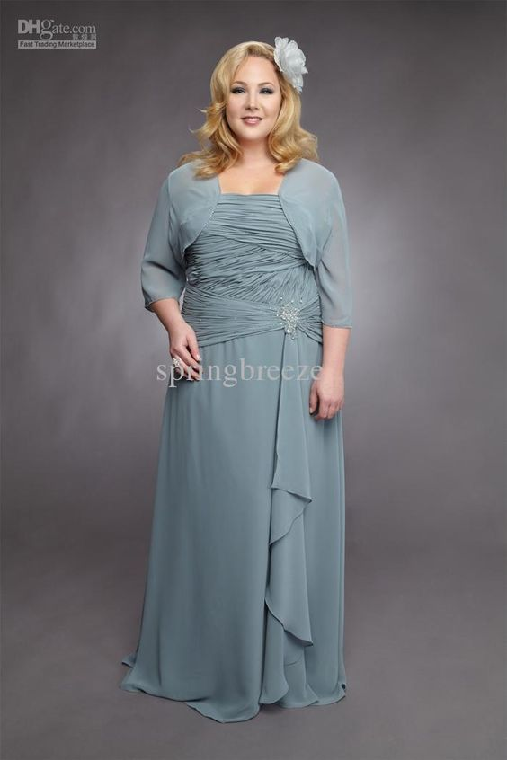 Wholesale Chiffon ruching Jacket plus size Mother of the Bride ...