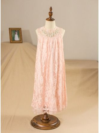 A-Line/Princess Knee-length Flower Girl Dress - Tulle/Charmeuse/Lace Sleeveless Scoop Neck With Rhinestone