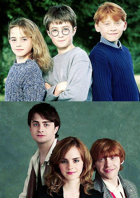 Awwwww Golden Trio Then And Now Adorable Daniel Radcliffe Harry Potter Harry Potter Hermione Granger Harry Potter Characters