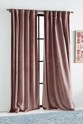 New Anthropologie Velvet Louise Curtain Panels Set Of Two 63