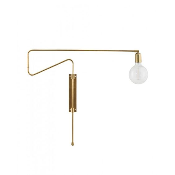 Long Brass Swing Wall Lamp by House Doctor DK #lighting @housedoctordk #interiors