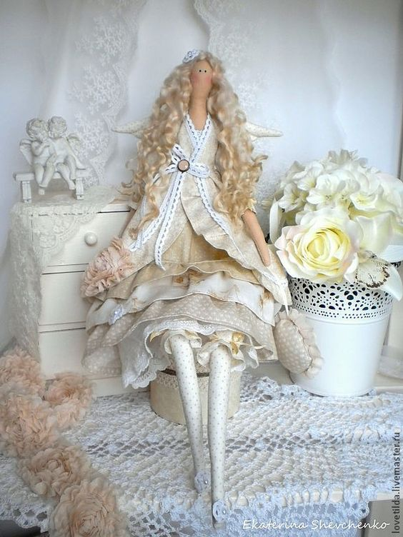 """Купить """"Айвори"""" - нежный ангел Тильда - бежевый, айвори, ангел, тильда, интерьерная кукла:"""
