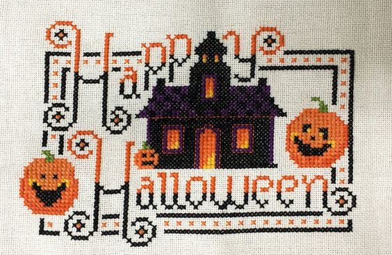 Completed Cross Stitch Picture - Happy Halloween - Kit & Bixby