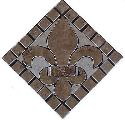 8 Charro Fleur De Lis Mosaic Backsplash Marble Medallion