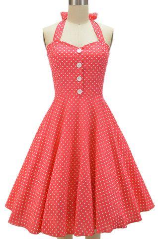 miss mabel sweetheart sun dress - coral polka dots | le bomb shop