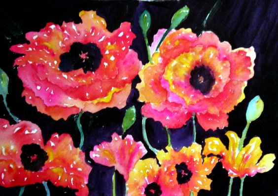 Watercolor Poppies by Kay Kindall