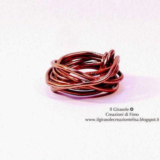 Il Girasole ❂  Creazioni di Fimo: Anello in filo wire ramato: Nido Intrecciato