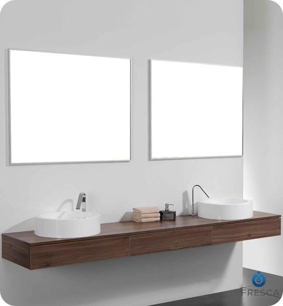 Guest Bath Vanity Floating Shelf And Basins Are A Yes