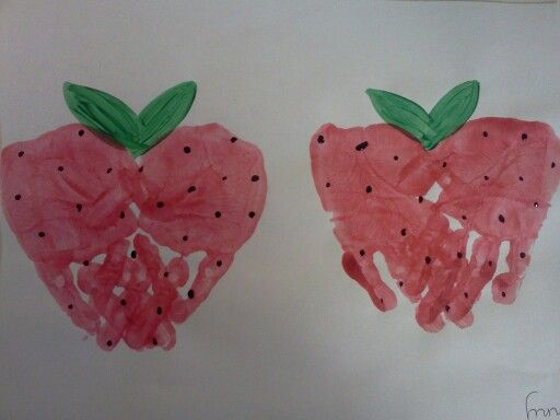 Handprint strawberries. Preschool and toddler art.: