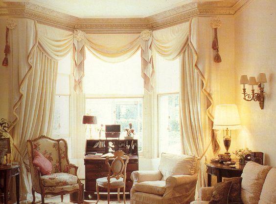 Custom bay window drapes windows window treatments - Modern bay window curtains ...