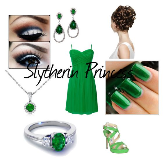 """Slytherin Princess"" by what-a-beautiful-mess ❤ liked on Polyvore featuring Jimmy Choo, Swatch, Daniela Swaebe, Blue Nile, eye makeup and multi-strap heels"