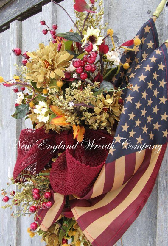 Patriotic Wreath Americana Wreath Fourth of by NewEnglandWreath