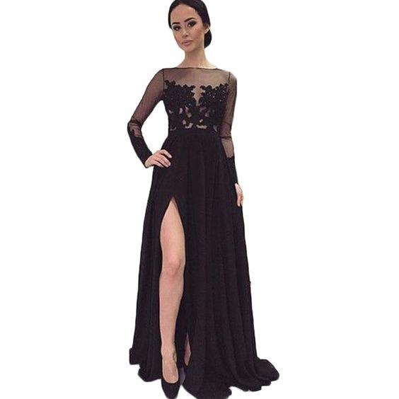 Prom dresses long sleeve, Black prom dresses and Prom dress long ...