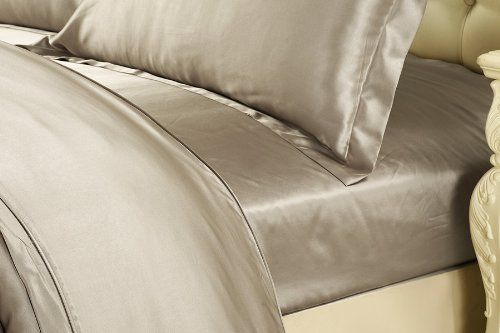 Amazon.com - Silk Fitted Sheet 19 Momme Seamless 100% Pure Mulberry Silk Taupe Color By LilySilk - King -
