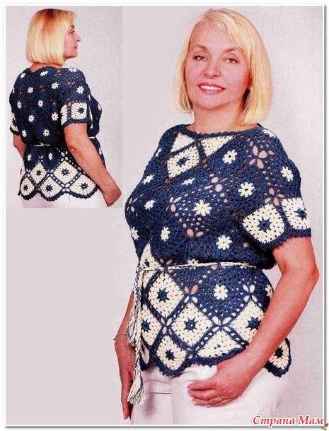 Нарядная блуза из мотивов.