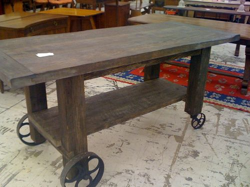 Counter Height Farm Table : counter-height farmhouse table on wheels For the Home Pinterest ...