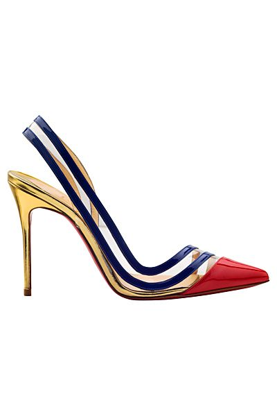 Christian Louboutin Red Toe, Gold Heel & Blue Slingback Pumps ...