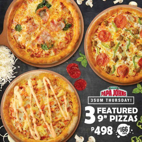 Papa John S 3sum Thursday Promo 3 Pizzas For Php498 Proud Kuripot Papa Johns Papa Johns Pizza Papa Pizza