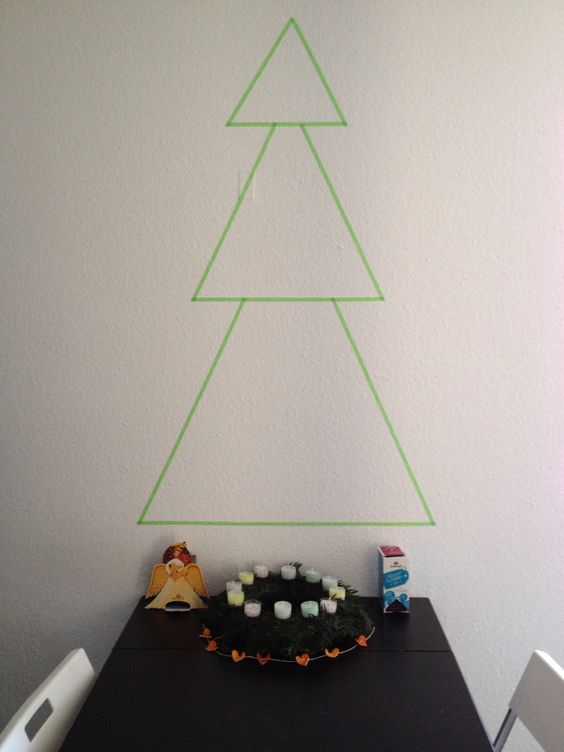 Washi Tape Christmas Tree on my Kitchen Wall: