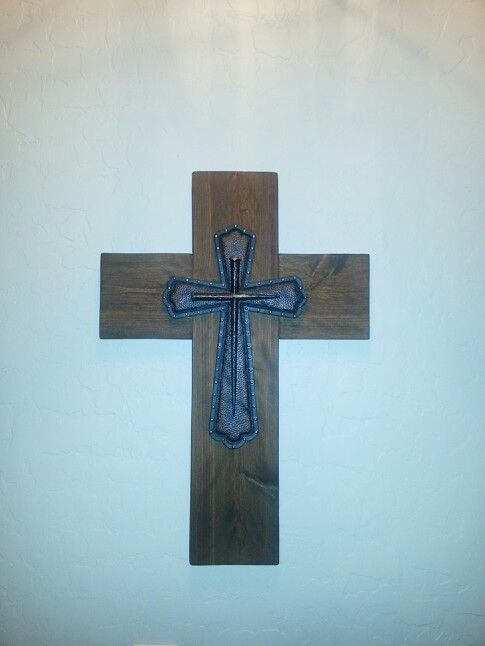 Add decorative cross to wooden cross to  accent and enlarge