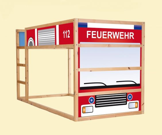 aufkleber f r das hochbett ikea kura feuerwehrauto feuerwehr kinderbett feuerwehrzimmer. Black Bedroom Furniture Sets. Home Design Ideas
