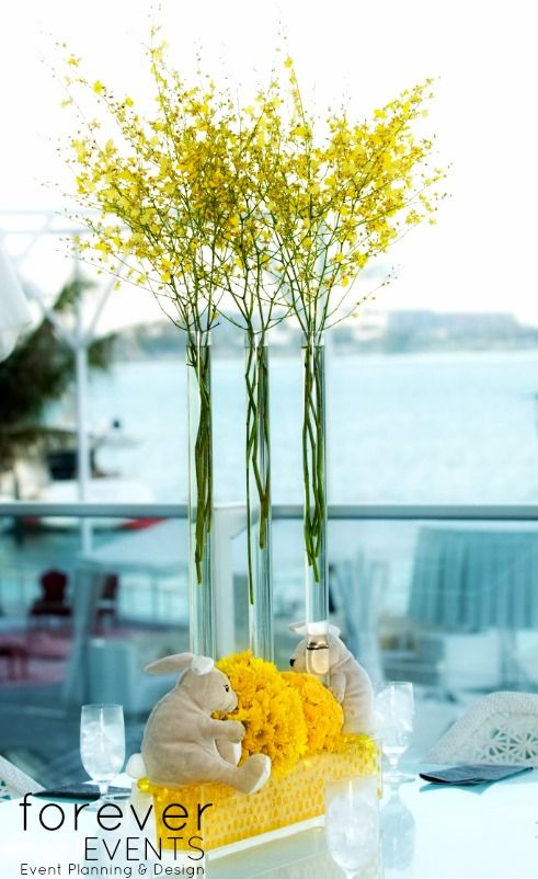 Simple touches make the Brit Milah centerpiece memorable, sophisticated and fun www.forever-events.com