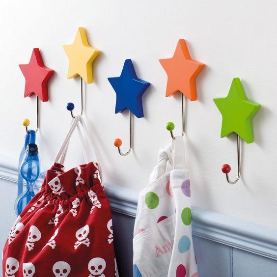 Rainbow Star Hooks (Set of 5) - Bunting & Decorations - Bedding & Room Accessories - gltc.co.uk