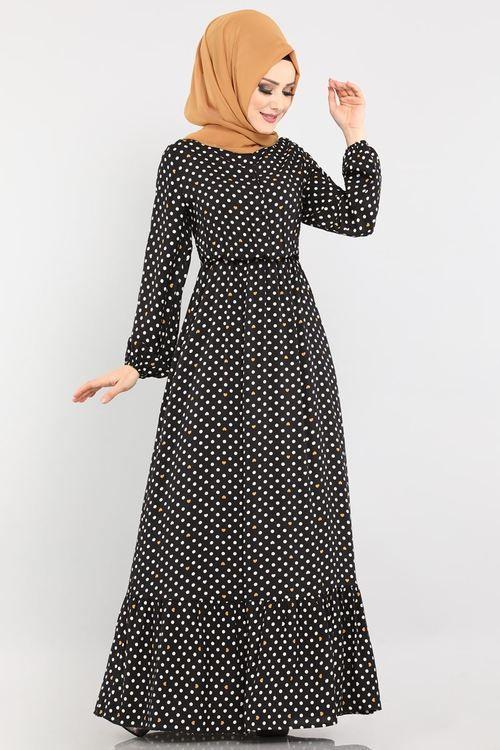 Modaselvim Elbise Puantiyeli Dugmeli Elbise 1202ant317 Siyah Hardal Elbise Puantiyeli Elbise Islami Giyim
