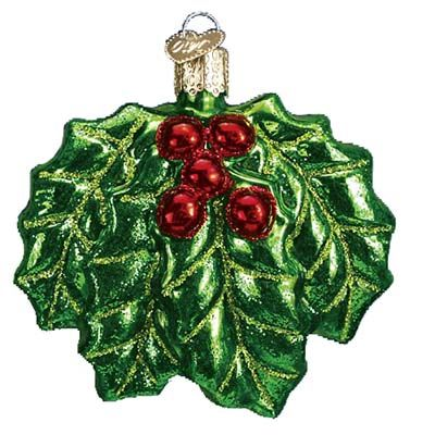 Holly Leaves with Berries, Merck Family's Old World Christmas Ornament made of mouth blown, hand painted glass