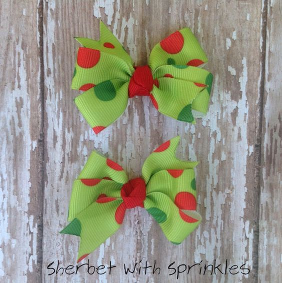 Christmas Hair Bow Set Bitty Bow Hair by sherbetwithsprinkles, $3.00