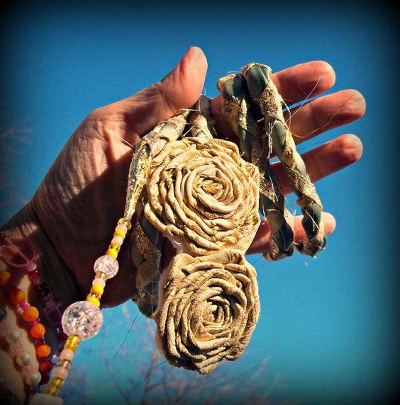 Golden Roses sari fabric handfasting cord.