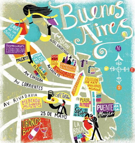 Travel illustrations by Migy – Tourist Map of Argentina