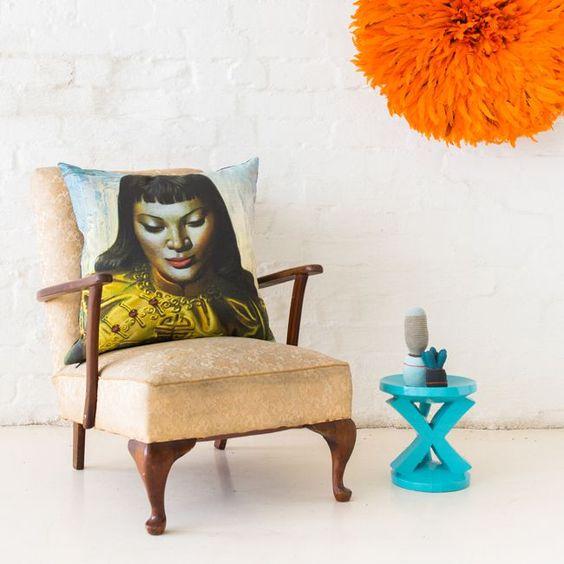 Tretchikoff Cushion (Zulu Girl) | Tretchikoff art printed on linen cushion pillow covers by Safari Fusion