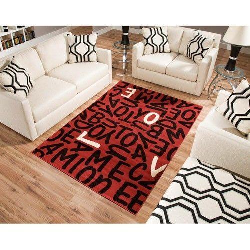 Love Rectangle Area Rug Red Black White Teen Dorm Room